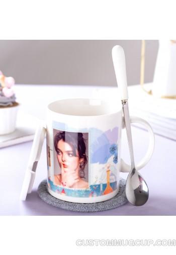 11oz mug +spoon+ceramic lid