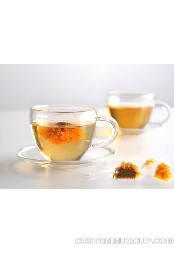467798e6af Double wall clear glass tea/coffee cup & heat-resistant glass cup saucers  100ml