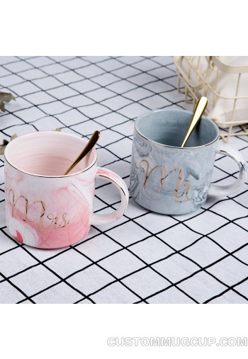 Customize Logo Ceramic Mug Marbling Coffee Mug Mr and Mrs Coffee Mugs Set Unique Gift for Him Her for Parents for Valentine's day