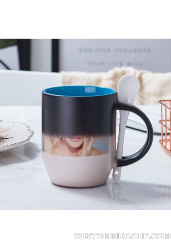 Custom Mugs And Personalized Mugs 11oz Two Tone Color Personalized Magic Mug Custom Magic Photo Mug Color Changing Mug With Spoon Order Online