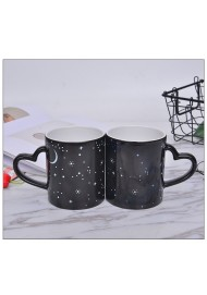 11oz Magic Mug with Heart Shaped Handle Photo Coffee Mug Color Changing Mug with Starry Design for Gift