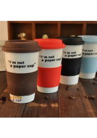 2014 double wall Ceramic mug , I'm not a paper cup ,travel mug with silicone lid,sarbucks mugs wholesale