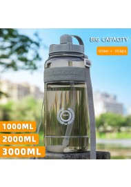 600ml/1000ml/1500ml/2000ml Big Capacity Sports Water Bottle Portable Outdoor Plastic Bottle with Straw for Travel Car use Customize Logo