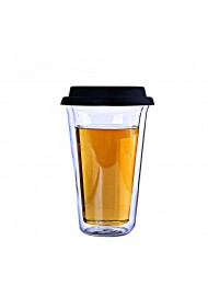 High quality double wall clear glass coffee mug with  cover travel tea cup with lid