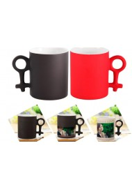 Color Changing Heat Sensitive Couple Magic Mug Heart Coffee Cup Tea Milk 2 pcs/set  Valentine Gift