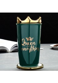 Ins Household Double Wall Insulated Mug with Straw  Ceramic Water Cup with Cover Lovers Coffee Mug Gold Queen's Crown Lid