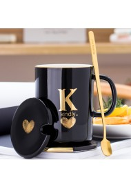 400ml Creative Gold Finger Printing Black Ceramic Coffee Mug Tea Cup With Gold Handle as Gift with Lid and Spoon