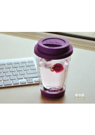 350ML starbucks double wall glass cup with silicone lid,tumbler  No Minimum