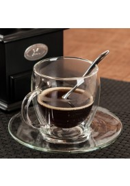 Double Wall Clear Glass Tea/Coffee Cup & Clear Glass Saucer