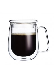 250ml Borosilicate Mug Double Wall Insulated Glasses Espresso Mugs with Lid and Spoon