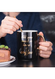 """400ml Ceramic mugs with real gold decal printing """" All you need is love and coffee"""" mug with lid and spoon"""