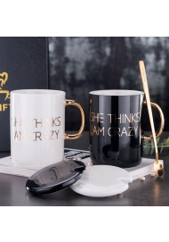 "400ml Ceramic mugs with real gold decal printing ""She think i'am crazy"" mug with lid and spoon"