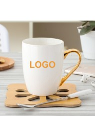 Hot sale Custom logo mug with gold handle gold foil logo ceramic coffee mug cup