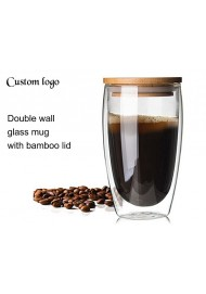 Double Wall Glass Coffee Mug Tumbler with Lid 350 ml / 450 ml