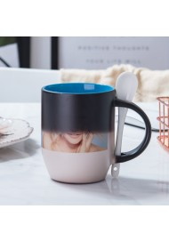 11oz two tone color Personalized Magic Mug, Custom Magic Photo Mug, Color Changing Mug with spoon
