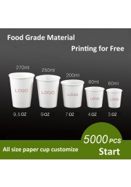 Custom Paper Coffee Hot Cups, WHITE Paper Cups - to go Coffee Cups, Disposable Travel Mug Hot/Cold Coffee, Tea & Chocolate, Hot Coco