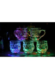 New Creative Party LED Flashing Mugs Cup Glowing Cola Water Cup Color Changing Rainbow Wine Glass