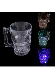 Crystal Cup Novelty Cola Vodka Mug Creative LED Glowing Skull Shape Water Inductive Glowing Wine Beer Glass