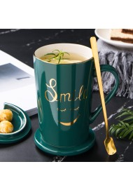 Creative New 420ML Green Mug with Golden Logo Ceramic Coffee Cup Custom Design With Lid and Spoon Gift Box