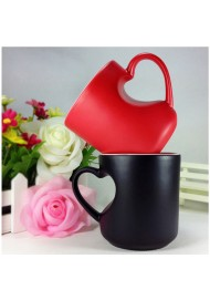 Magic Ceramic Coffee Tea Milk Hot Cold Heat Sensitive Color-Changing Mug Cup Pixel Heart Lovely Gift