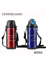 Vacuum Insulated Stainless Steel Sports Water Bottle, Leak Proof Travel Mug with Flip Lid Custom LOGO - 800ml
