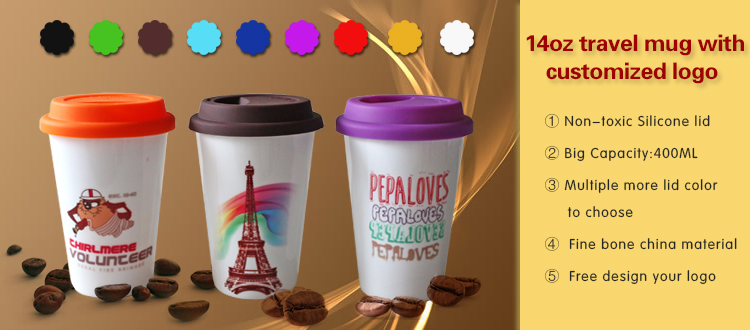 14oz customized logo travel mug