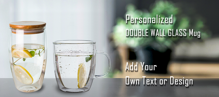 Hot sale double wall glass mug