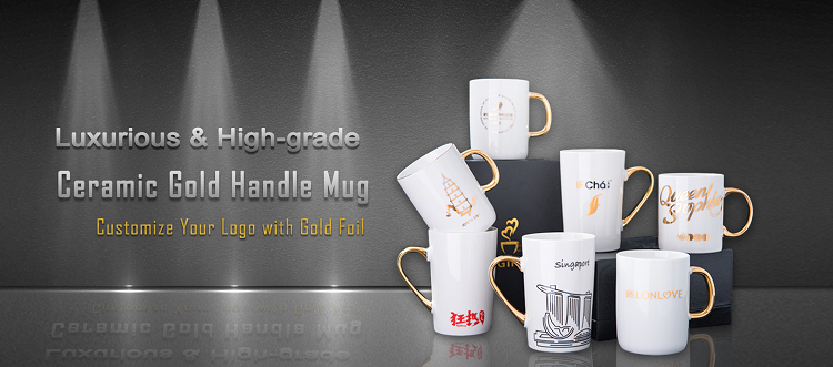 11oz personalised mugs with gold handle
