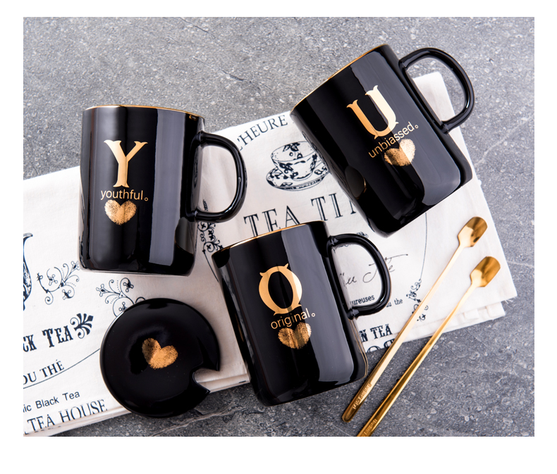 Custom mugs and Personalized mugs 400ml Creative Gold Finger Printing Black  Ceramic Coffee Mug Tea Cup With Gold Handle Gift Box with Lid and Spoon  order online