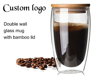 450ML Double wall glass mug with bamboo lid