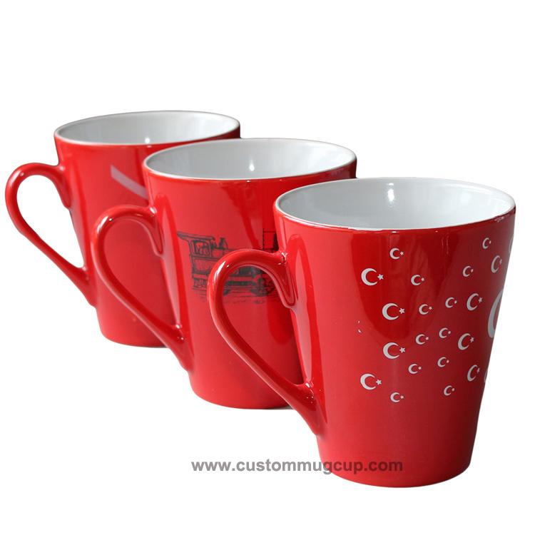 11oz Latte Red Mug , Green Mug