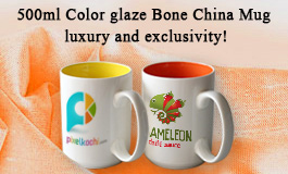 15 Oz. Glossy Two-Tone Promotional Ceramic Mugs